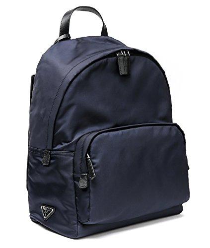 Wiberlux Prada Men's Triangle Logo Detail Zip-Around Backpack One Size Navy (Prada Blue Sport Bag)