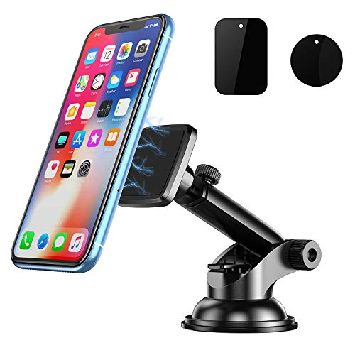TEUMI Car Phone Holder Magnetic, Universal Cell Phone Mount for Car Dashboard/Windscreen, Sturdy Secure with Sticky Suction Cup & Telescopic Arm, 360° Adjustable Cars Cradle for Almost All Smart Phones