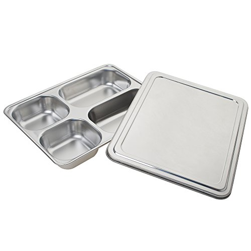 (Aspire Stainless Steel Bento Box, Divided Dinner Trays With Cover, 1 Set-4 Sections)