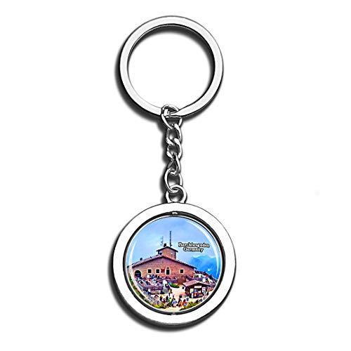 Berchtesgaden Eagle's Nest Germany Beauty 3D Crystal Creative Keychain Spinning Round Stainless Steel Key Chain Ring Travel City Souvenir Collection]()