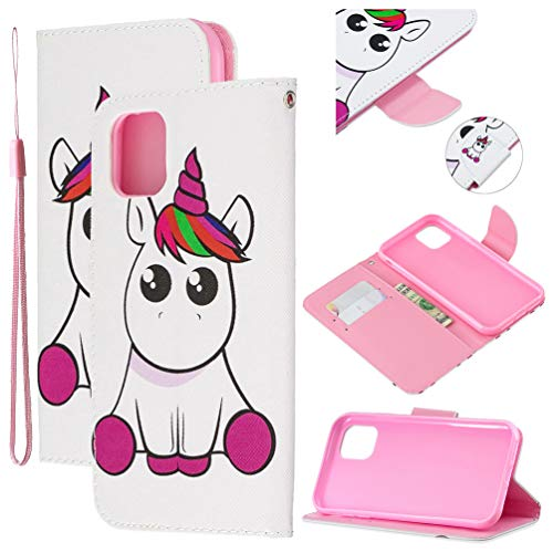 Tom's Village Colorful Printed Wallet Case for iPhone 11 PU Leather Magnetic Flip Cover Shockproof Flexible Soft TPU Ultra Slim Protective Bumper ID/Credit Card Slots Kickstand Lanyard Unicorn