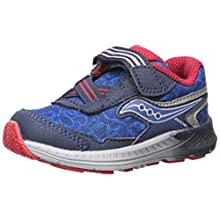 Saucony Boys' Ride 10 JR Sneaker, Navy/Red, 4.5 W US Toddler