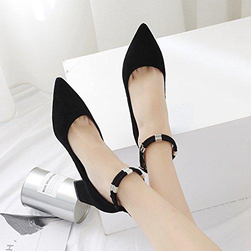 Satin Femmes Bouche Pour Chaussures Pied Anneau Simples Pointues pais Et 36 En Mtallique Avec Noir Femmes Profonde Suggestion Peu avP5xSFq5