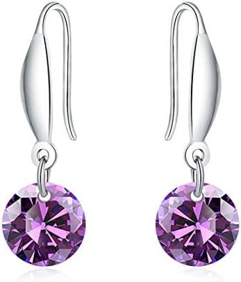 Mandio Purple Heart Drop Dangle Earrings for Women//Girls Swarovski Crystal Dangle Earring