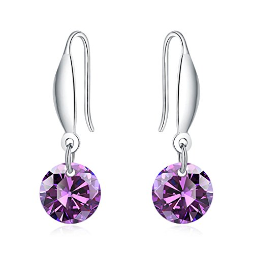 Zircon Purple Crystal Earrings White Gold Plated 925 Sterling Silver Dangle French Hook (Silver French Hook)
