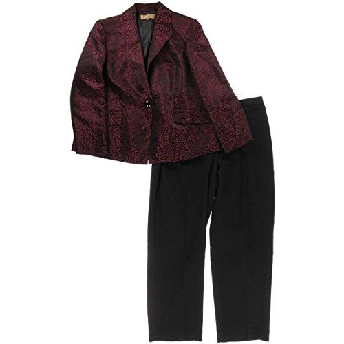 Kasper Womens Plus Crown Jewels Jacquard Animal Print Pant Suit Black 24W