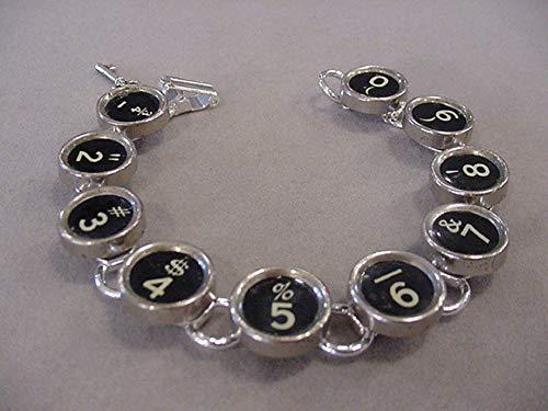Typewriter Recycled Keys - Typewriter Key Bracelet Black Numbers Typewriter key jewelry recycled jewelry
