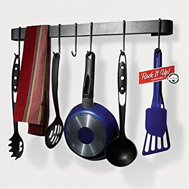 Rack It Up Utensil Bar Wall Pot Rack, with 8 Hooks, Steel Gray