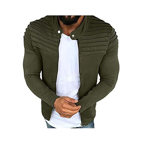 Hirate Men Long Sleeve Jacket Casual Active Uniform Pure Color Pleated Outwear Zip Overcoat Male Bodybuilding Clothing (Green, 2XL)