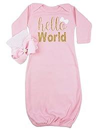 PoshPeanut Newborn Super Soft Baby Girl Gown Sleeper with Hat Infant 0-3 months