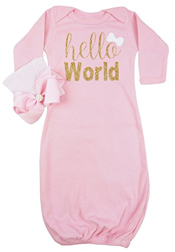 PoshPeanut Infant Gown Hello World Layette Soft Sleeper with Newborn Girl's Soft Infant Beanie Baby Girl Outfit - Girl Posh Baby