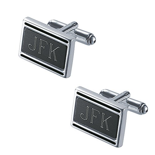 Personalized Silver Cufflinks (Personalized Visol Landton Black Matte Silver Plated Cufflinks with Free Engraving)