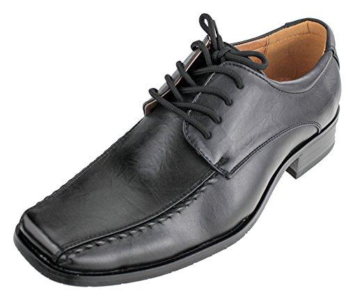 Aldo Bellini Men's Square Front Oxford, Black Faux Leather, 9 D(M) US
