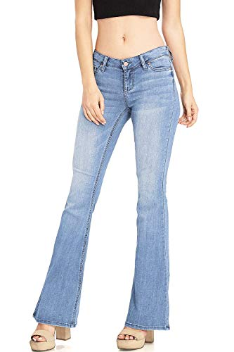Celebrity Pink Women's Juniors High Waisted Flared Bell Bottom Jeans (7, Classic Light)