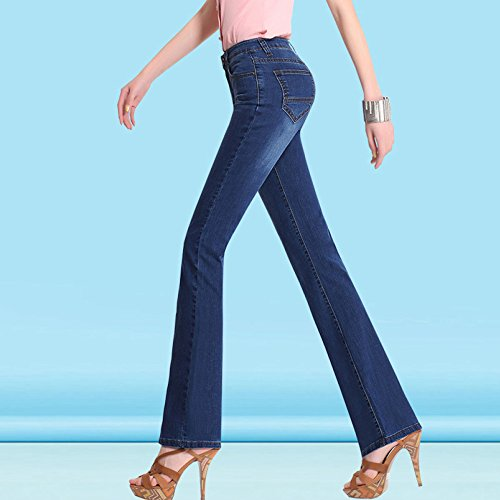 Blue A Jeans Trousers Donna Vita E Pantaloni Alta Da A Con Vita Jeans 36 Alta Elasticizzati Zip 6wdfngqA