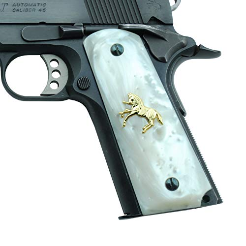 Altamont 1911 Grips - White Pearl - Full Size 1911 Grips w. Ambi Safety fits Most Commander, Standard & Government 1911 Models - Made in USA - White with Gold Colt ()