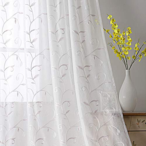 - VISIONTEX White Sheer Curtains Purple Leaves Embroidery Faux Linen Rod Pocket Curtains for Living Room 54 x 95 Inch, Set of 2 Curtain Panels