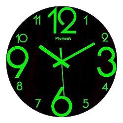 Plumeet Luminous Wall Clocks, 12'' Non-Ticking Silent Wooden Clock, Large Decorative Kitchen Office Bedroom (Wood)