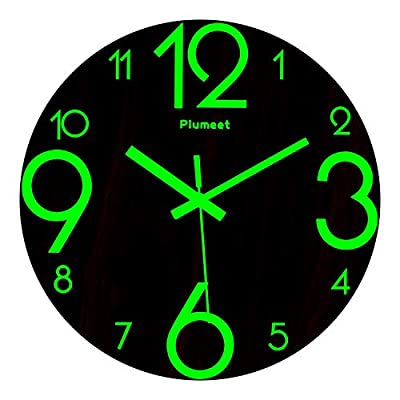 Plumeet Luminous Wall Clocks - 12'' Non-Ticking Silent Wooden Clock with Night Light - Large Decorative Wall Clock for Kitchen Office Bedroom (Wood) - GLOWING CLOCK ADVANTAGE -- Night lights function & long light up time, super quiet & non-ticking, big numbers perfect for the elderly or the visually restricted people. INCREDIBLE LUMINOUS TIME -- Light up more than 3 hours if clock receives enough sunlight at day, Four extra large numbers makes it easier to read at night. ANALOG SILENT CLOCK -- Precise quartz movements to guarantee accurate time, sweeping movement ensure a good sleeping and work environment. Made of wood, rich in rustic features. - wall-clocks, living-room-decor, living-room - 41Lly4Z0JRL. SS400  -