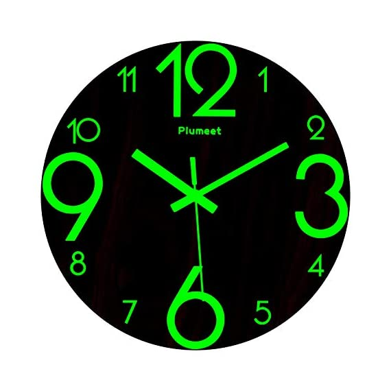 Plumeet Luminous Wall Clocks - 12'' Non-Ticking Silent Wooden Clock with Night Light - Large Decorative Wall Clock for Kitchen Office Bedroom (Wood) - GLOWING CLOCK ADVANTAGE -- Night lights function & long light up time, super quiet & non-ticking, big numbers perfect for the elderly or the visually restricted people. INCREDIBLE LUMINOUS TIME -- Light up more than 3 hours if clock receives enough sunlight at day, Four extra large numbers makes it easier to read at night. ANALOG SILENT CLOCK -- Precise quartz movements to guarantee accurate time, sweeping movement ensure a good sleeping and work environment. Made of wood, rich in rustic features. - wall-clocks, living-room-decor, living-room - 41Lly4Z0JRL. SS570  -