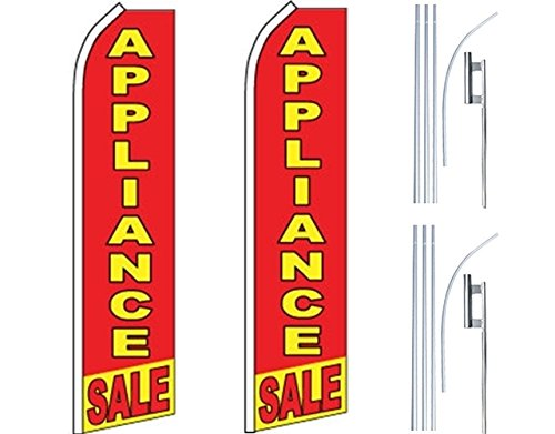 2 Swooper Flutter Feather Flags plus 2 Poles /& Ground Spikes APPLIANCE SALE Red Yellow