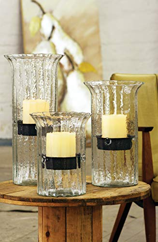 Kalalou Small Ribbed Glass Candle Cylinder, One Size, Brown