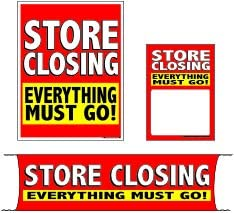 3 Sizes to Choose from Retail Business Store Signs Advertising Flooring /& Seasonal Furniture MKTSCE 4 Piece KitStore Closing Everything Must Go Mini - 4 Piece Sign Kit
