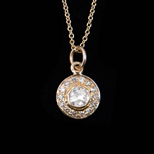 White Diamond and 14kt Gold Disc Charm Necklace - 14, 15, and 16 inches Long Adjustable Necklace by Miller Mae Designs -