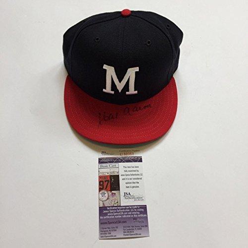 Hank Aaron Signed Authentic Milwaukee Braves Cooperstown Hat Cap With COA - JSA Certified - Autographed Hats Milwaukee Braves Cap