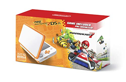 New Nintendo 2DS XL Handheld Game Console - Orange + White With Mario Kart 7 Pre-installed - Nintendo 2DS (Nintendo System Lite Bundle Ds)