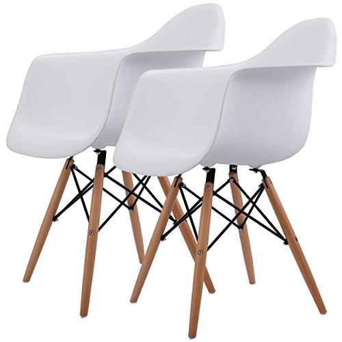 Giantex Set of 2 Mid Century Modern Molded Style Dining Arm Chair Wood Legs 41Llzf5TyoL