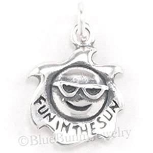 BEACH Charm Sterling Silver SUN glasses Pendant Travel .925 925 FUN in THE SUN Jewelry Making Supply Pendant Bracelet DIY Crafting by Wholesale Charms