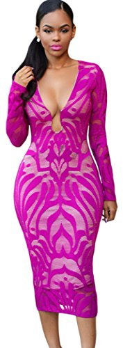 TomYork Deep Fuchsia Lace Nude Low Neckline Midi Dress(Size,M)
