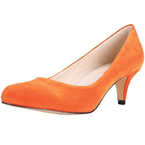 Fereshte Femmes Chaussures De Mariage De La Mode Toutes Les Velours De La Saison Pointe-toe Mid Kitten Talon Pompes Pour La Demoiselle Dhonneur De La Mariée Orange