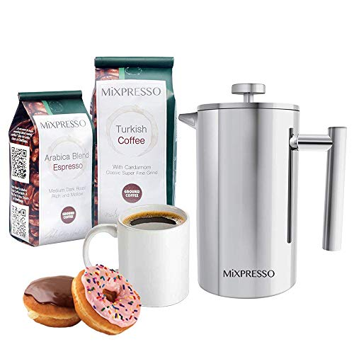 Stainless Steel French Press Coffee Maker 34 Oz 1L Double Wall Insulation Coffee &Tea Brewer Easy Clean, And Easy Press By Mixpresso