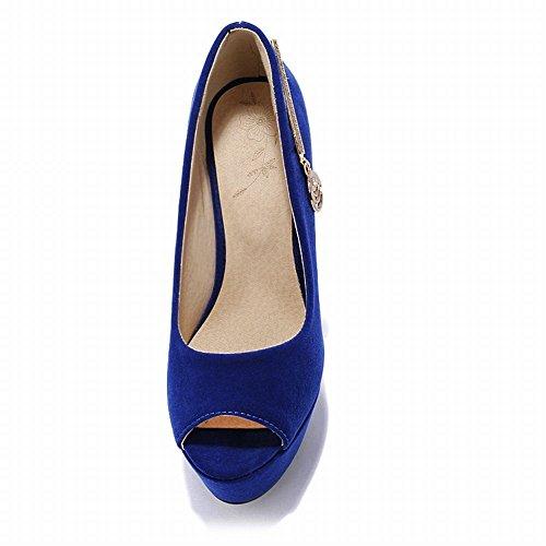 MissSaSa Damen Low-cut Peep-toe Plateau Pumps mit Stiletto und Strass elegant und charmant high-heel Nubuck Party/Kleidschuhe Blau(Saphir blau)