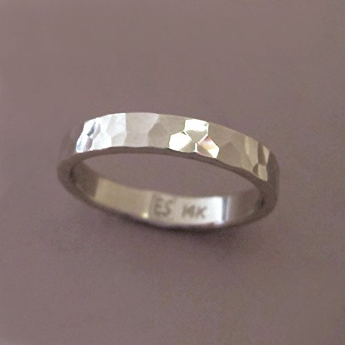 14k Palladium White Gold Hand Hammered Wedding Ring - Polished or Matte - Choose a Width ()