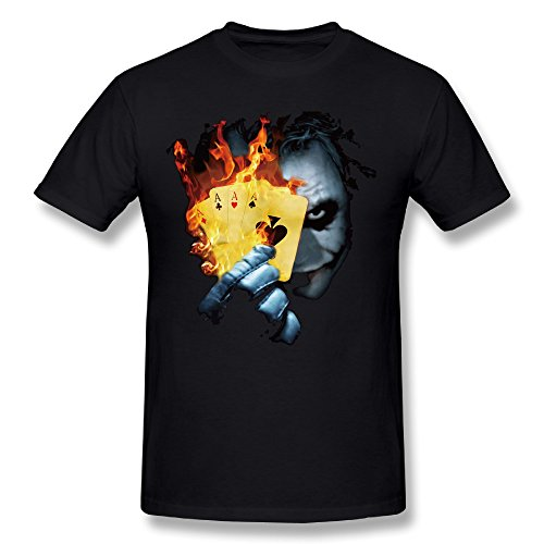 Burning Poker Joker Men's Cotton Tees Large