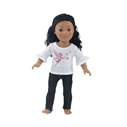 18 Inch Doll Clothes | Black Stretch Skinny Jeans Outfit, Including 3/4 Length Sleeved T-Shirt with Pink Glitter Fairy Princess Print | Fits American Girl (Rose Fairy Doll)