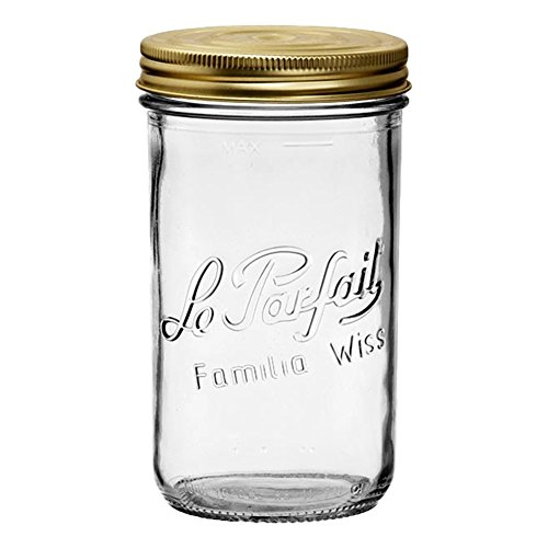 (4 Le Parfait Familia Wiss Terrines - Wide Mouth French Glass Mason Jars - Zero Waste Packaging (4, 1000ml - 32oz - Quart, 100mm))