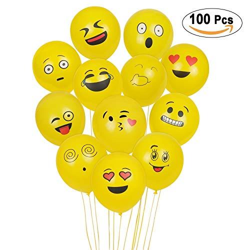 Emoji Balloons, 100Pcs Yellow Emoji Latex Balloons for