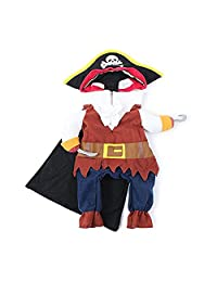 POPETPOP Pet Costume Pirates The Caribbean Style Clothes Suit a Hat Costume Apparel Dog and Cat Size XL