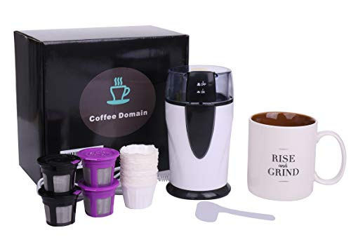 Earth Friendly Coffee Brewers Accessory Set for 2.0 and 1.0 Machines – Includes: Best Quality Bean Grinder, 4 Reusable / Refillable BPA Free K-Cups, Designer Coffee Cup – Save Money – Save the Earth – Drink Fresher Tastier Coffee!