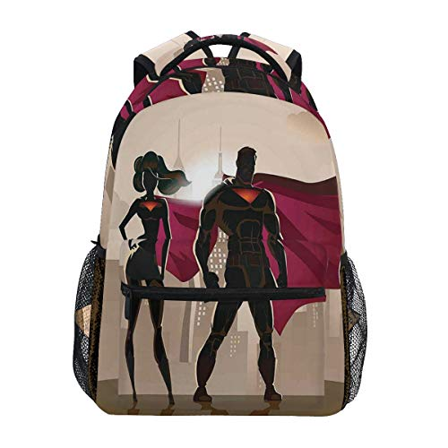 yuqiang Super Woman Heroes In City Hot Couple Costume Pattern Lightweight School Backpack Students College Bag Travel Hiking Camping Bags]()