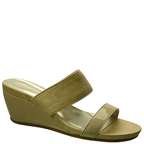 David Tate Women's Charlotte Wedge Sandal,Nude Vintage Goat/Patent Leather,US 7.