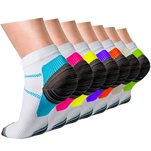 Compression Running Plantar Fasciitis Socks for Men & Women - Low Cut Cushion Socks Fit for Athletic,Travel, Sports, Medical