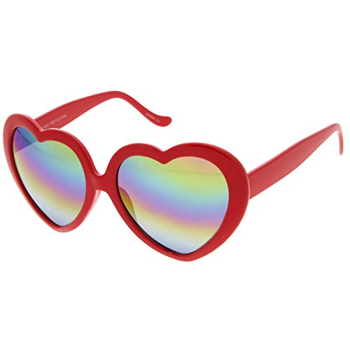 zeroUV - Women's Oversize Rainbow Colored Mirror Lens Heart Shaped Sunglasses 55mm (Red / Rainbow - Heart Red Shaped Sunglasses