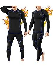 Thermal Underwear for Men, Long Johns Set Base Layer Fleece Lined Top Bottom