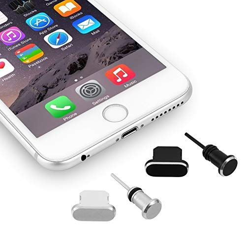 OOTSR Anti-dust Plugs Caps Compatible for iPhone Smart-Phones, Anti-Dust Pluggy Charging Port Cover for iPhone X/XS/XS MAX/8/8 Plus/7/7 Plus/6/6S/6 Plus.etc (2-Set, Black +Silver) from OOTSR