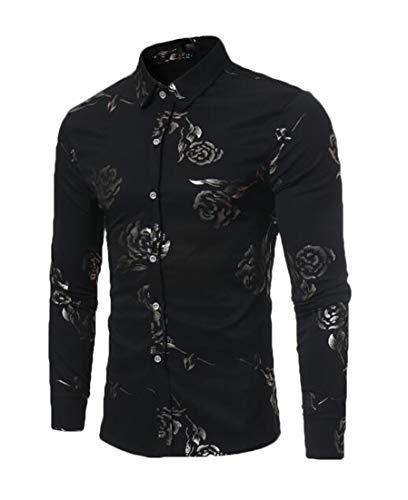 X-Future Mens Long Sleeve Button Down Print England Rose Dress Work Shirt Black M